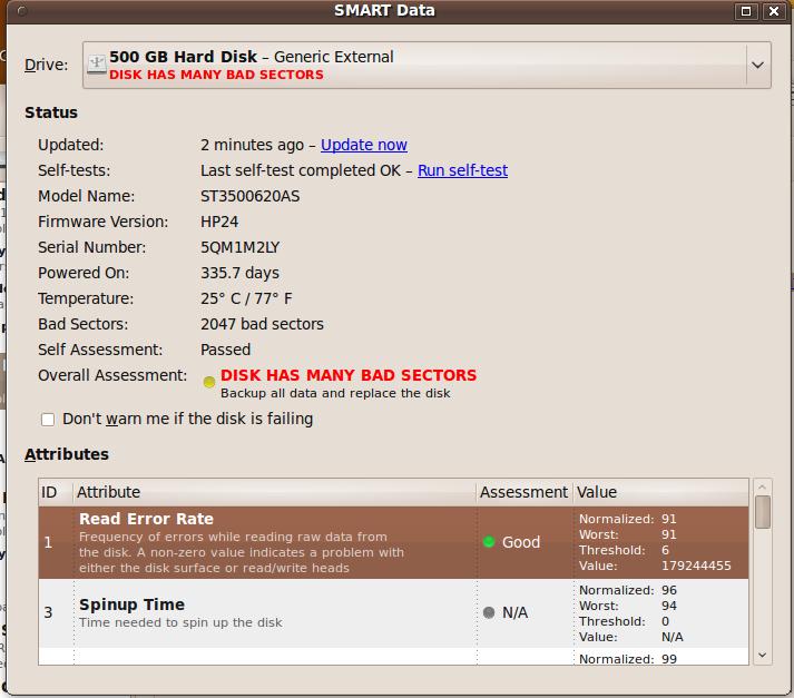 Ubuntu SMART disk analysis is slick! (1/6)