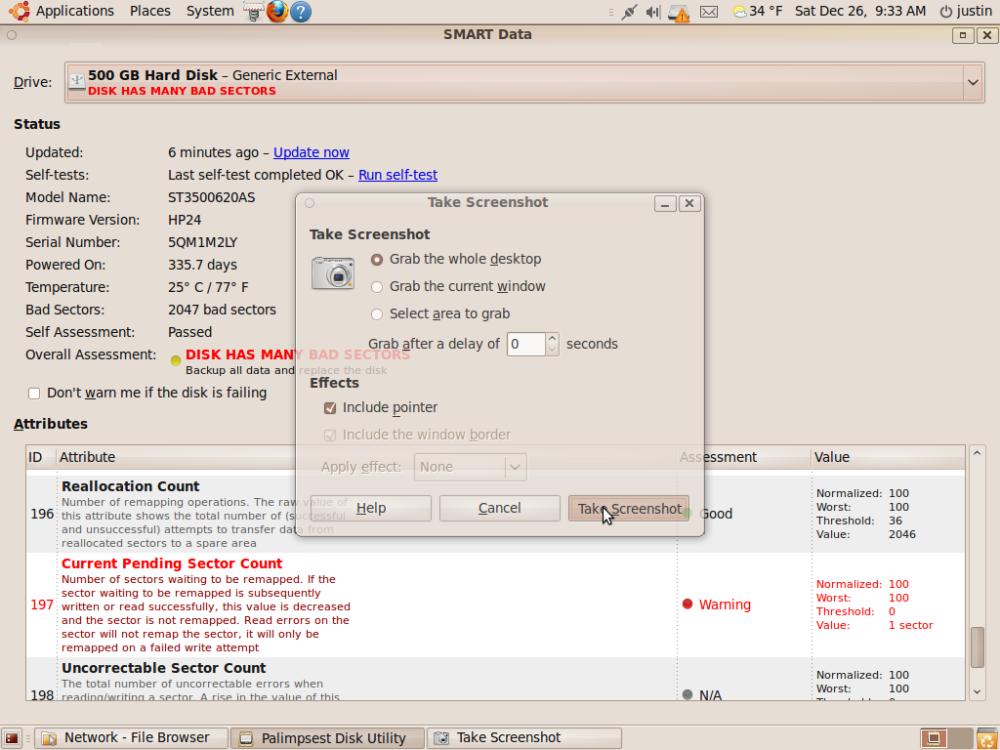 Ubuntu SMART disk analysis is slick! (2/6)
