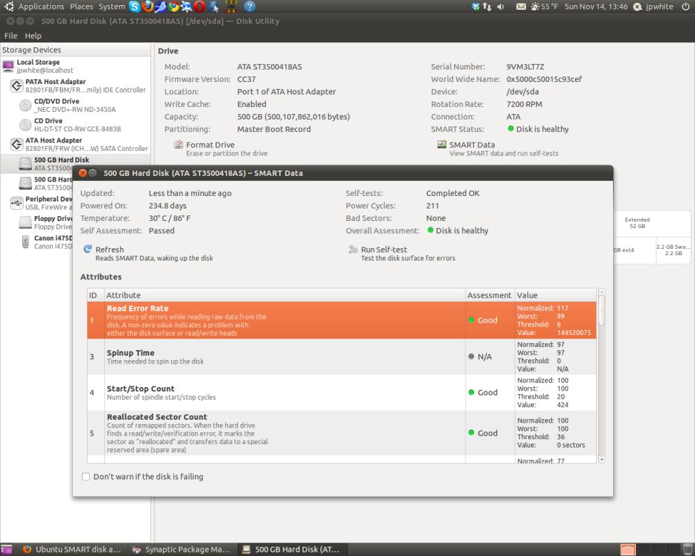 Ubuntu SMART disk analysis is slick! (6/6)