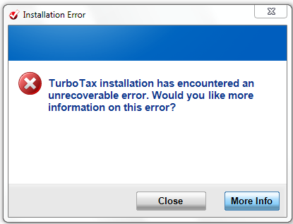 Overcoming TurboTax 2011 Unrecoverable error during install (1/3)