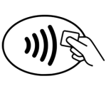 Tap and Pay Icon found on checkout card readers