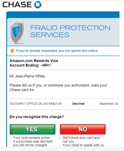 Chase Fraud Alert. Click to enlarge