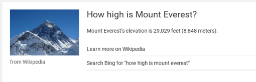 Alexa's response to my question about Mt Everest